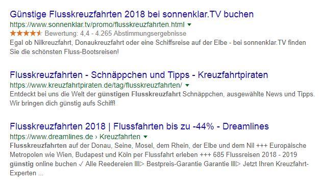 Suchergebnisse von Google
